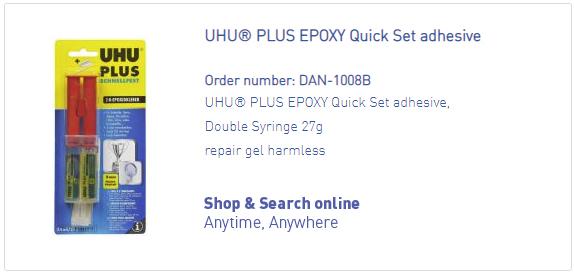 DANmed_UHU_PLUS EPOXY Quick Set adhesivet